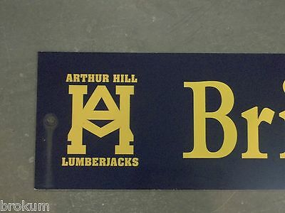 "Vintage BRIAN SCOTT pl ARTHUR HILL LUMBERJACKS Sign 48"" X 9"" GOLD on NAVY Ground"