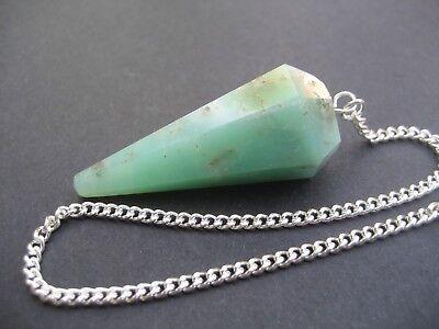 Solid Chrysoprase Faceted Precision Pendulum Healing Crystal Gemstone Dowsing 4