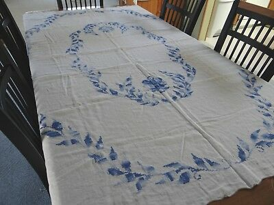 """Antique Hand Embroidered Cotton Table cloth Blue leaf Design  55"""" x 74"""" 4"""