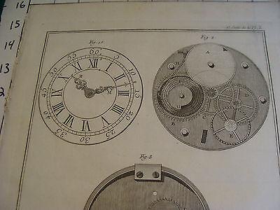 "Original engraving 1760's 10 1/2 x 16"" montre a roue de rencontre HORLOGERIE 2"