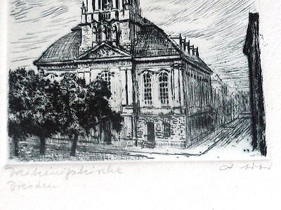 Original Radierung Dresden Dreikönigskirche signiert  A.Ador 1920er Jahre