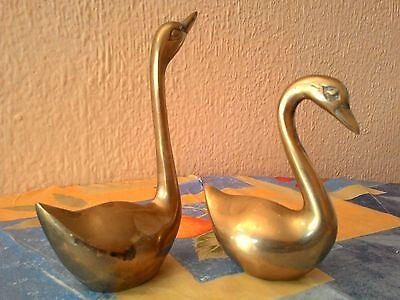 Pareja De Cisnes De Laton Vintage - Años 70