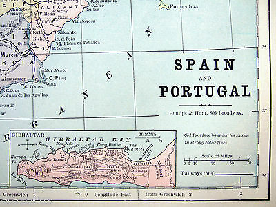 Original Antique 1883 Map of Spain & Portugal by Phillips & Hunt 3