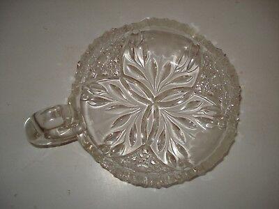 Vtg Flower Burst Abp Clear Cut Glass Nappy Dish Etched Flowers Sgl Loop Handle 2