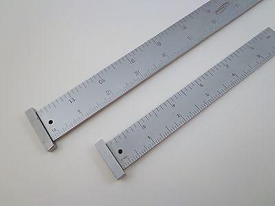 """Pair Igaging 12"""" & 6"""" machinist 4R hook ruler/rule 1/8, 1/16, 1/32, 1/64 grads 3"""