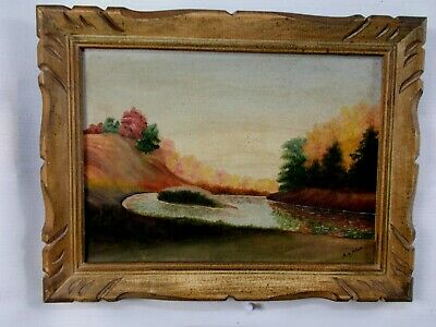 Framed Oil Painting Autumn And The Annapolis River Signed HV Ryan Middleton NS 2