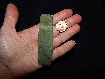 Pre-Columbian Ceremonial Jade Pendant, Authentic , Calcified Green Jade 5