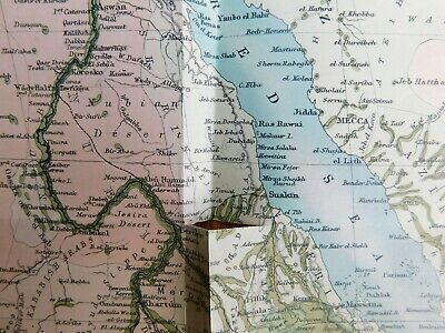 Antique 1903 Lithographed Map-Egypt Africa Nile Basin Red Sea-Stokes Co. COA 2