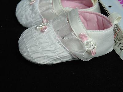 Schuhe Baby Ballarinas Ballerinas Taufe Feier 0- 3- 6- 12 Mon weiß mit Rose 6