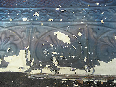 "GORGEOUS antique VICTORIAN tin ceiling pressed FLORAL fleur pattern 24.75"" x 48"" 3"