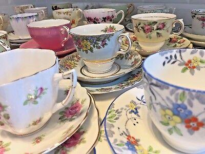 VINTAGE Bone China TEA CUP & SAUCER TRIO Tea Set FLORAL ROSE HARLEQUIN Matching 3