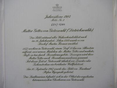 Heinrich Icono Del Año 1984 Madre de Dios Von Gietrzwald + Certificado N º 681+ 5