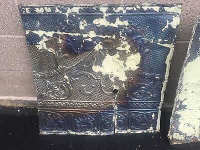 """GORGEOUS antique VICTORIAN tin ceiling pressed edge pattern 4 - 24"""" sq pcs AS IS 2"""