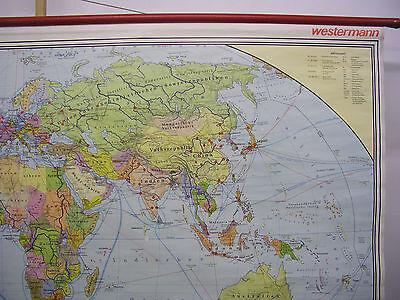 Schulwandkarte schöne alte Weltkarte politische 245x142c vintage world map 1977 4