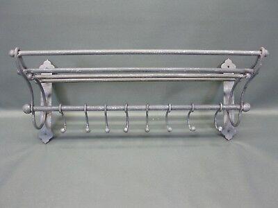 Garderobe  Hutablage  aus Metall  mit beweglichen Haken 53 cm x 22 cm Loft grau 6