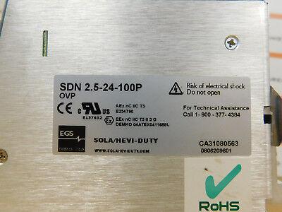 Sola SDN 2.5-24-100P Power Supply 115/230Vac, 1.3-.7A, 50/60Hz Used BPP 4
