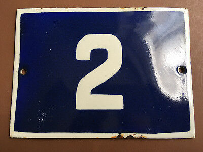 ANTIQUE VINTAGE EUROPEAN ENAMEL SIGN HOUSE NUMBER 2 DOOR GATE SIGN 1950's