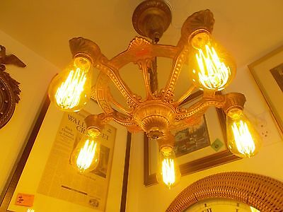 Gorgeous Art Deco Ceiling Fixture, Original Color, 5 Edison Squirrel Cage Bulbs 5