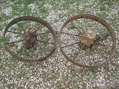 "Pair Vintage Rustic Iron Farm Implement Wheel Farm decor 28"" diameter 4"" thick 6"
