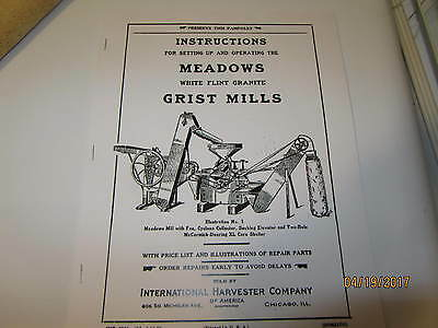 1923 International Harvester Meadows Grist Mill Instruction/Parts manual 2