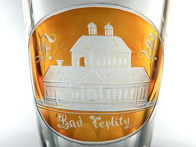 BIEDERMEIER Glas ° Pokalglas ° grosses Bäderglas ° Bad Teplitz Böhmen 2