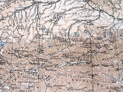 1896 Antique Original Physical Map Of Germany Poland Rivers Mountains 6