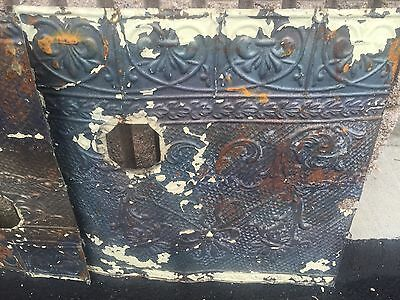 """GORGEOUS antique VICTORIAN tin ceiling pressed edge pattern 4 - 24"""" sq pcs AS IS 8"""