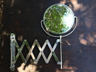 Vintage Accordion Round 2 Sided Shaving Makeup Mirror (FR) 2