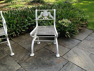 Rare 3 piece set Antique Neoclassical Cast Iron Garden Bench & chairs Victorian 4