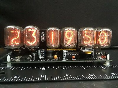 nixie clock six digits black pcb with 12/24 hr disp RTC and PSU. Assembled. 2