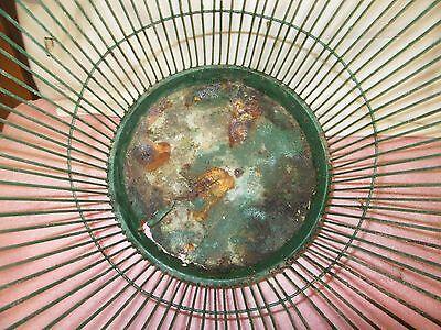 Antique Vintage Massillon Ohio Daisy Metal Wire Green Wastebasket - NEAT 5