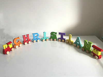 Baby Christening Gifts Wooden Colour train letters for Personalised name train 10