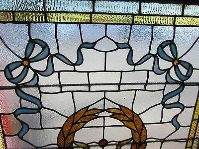 ANTIQUE AMERICAN STAINED GLASS LANDING WINDOW 35.75x42.25 ARCHITECTURAL SALVAGE 3