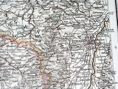 1896 Antique Original Map Of Northern France Luxembourg Lorraine Alsace Picardy 6