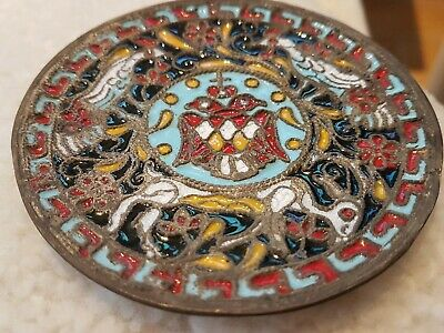 Antique Russian Cloisonne Brass Dish Plate Hand Painted Enamel two headed Eagle 3