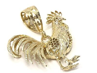 14k Yellow Gold Diamond Cut Rooster Cock Chicken Bird Charm Pendant 2.4grams