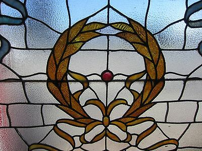 ANTIQUE AMERICAN STAINED GLASS LANDING WINDOW 35.75x42.25 ARCHITECTURAL SALVAGE 4
