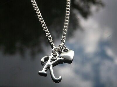 """Personalised Initial 16-20"""" Necklace, Mini Heart Pendant & Silver Plated Letter 2"""