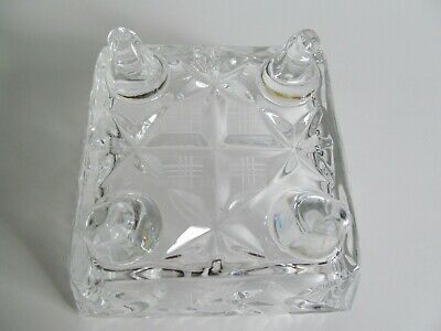 Crystal Glass Bowl Dish 4 inch Square Footed Pinwheel Etched Stars Faceted Vtg 9