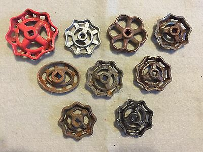 Lot Of 9 Vintage Heavy Metal Water Faucet Handles Knobs Valves Steampunk Lot #31 5