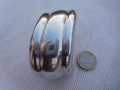 Superbe Ce Large  Bracelet Jonc En Argent Massif Veritable 925 54 Grammes Nb27