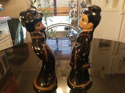 Pair Of Adorable Antique Asian Ceramic Candle Sticks 4