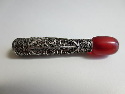ANTIQUE VINTAGE Silver FILIGREE RED AMBER SMOKING PIPE CIGARETTE-HOLDER RARE! 3