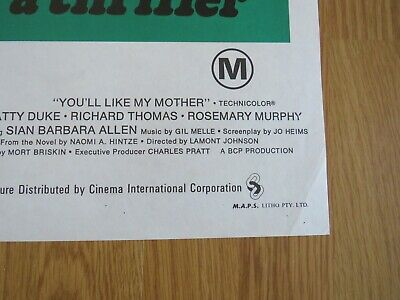 YOU'LL LIKE MY MOTHER ORIGINAL 1972 CINEMA DAYBILL FILM POSTER Patty Duke HORROR 5
