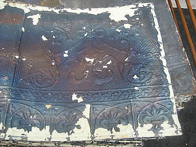"GORGEOUS antique VICTORIAN tin ceiling pressed FLORAL fleur pattern 24.75"" x 48"" 2"