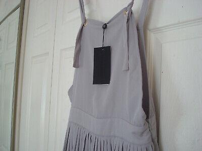~ UNION ~ Bib & Brace DUNGAREE TOP & PLEATED SKIRT Pinafore DRESS Grey 12 BNWT 2