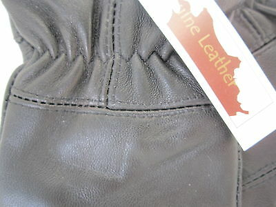 Childrens Boys Girls Black Genuine Leather Gloves Winter Lined Good Quality 2