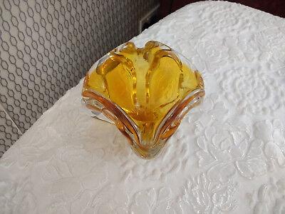 Vintage Bohemian Art Glass Hand Cut Czech Heavy Decor Bowl With Box 6