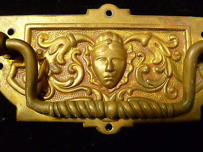Set Of Six Victorian Brass Drawer Pulls With Human Mask Faces - Circa 1880 3