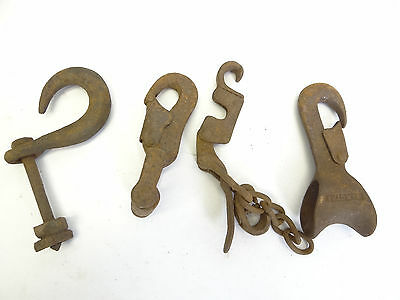 Antique Lot Old Brown Wrought Iron Industrial Hay Hooks Machinery Lighting Parts 7